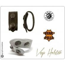 Passanti Per Cinturone Distanziali Pelle Doppio Bottone Bianchi - Neri Confezione 1 pezzo Vega Holster Art.1V00-1