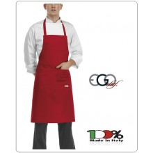 Grembiule Cucina Pettorina con Tascone cm 90x70 Rosso Fuco  Ego Chef Italia Art.6103007C