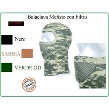 Mefisto Balaclava Passamontagna Verde Nero Sabbia Nuovo con Filtro Fostex Art.214288