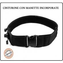 Cintura Cinturone H5 In Cordura Nera Con Fasce 4 Manette Incorporate Modello Polizia Fosco Art.241243