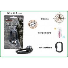 Bussola Moschettone Termometro Militare Tempo Libero Alpinismo Trekking Art.259125
