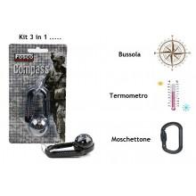 Bussola Moschettone Termometro Militare Tempo Libero Alpinismo Trekking Art. 259125