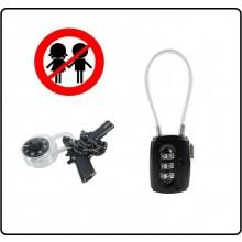 Lucchetto a Cavo Combinazione Per Armi ed Armadietti Combi lock  Pistole Fucili 101 INC Art.259287