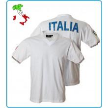 T-shirt Manica Corta Collo a V Bianca Italia Art.987445