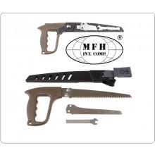 Seghetto a Mano 2 Lame per Seghe Fodero in ABS con clip da Cintura Campeggio Tempo Libero MFH Art.27081