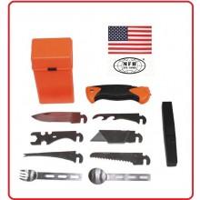 Kit Sopravvivenza Campeggio Militare MFH Combat Survival Kit SPECIAL 27 Pezzi Art.27112