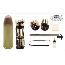 Set di Pulizia 25 pezzi a Forma di Cartuccia per Fucile Pistola Tutti i Calibri MFH Art.27387