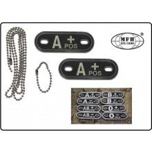 JTG Targhetta PVC Gruppo Sanguigno Nere Nuovo Militare Esercito Soft Air Outdoor MFH Art.27400