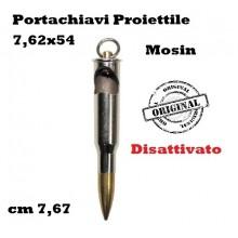 Portachiavi Proiettile Disattivato Mosin Calibro 7.62x54 cm 7.67 Art.28247