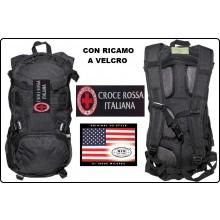 Zaino Rucksack 背包 sac à dos Mochila Tattico Nero US Assult 25 Litri con Ricamo CRI Croce Rossa Italiana MFH Art.30373A-CRI