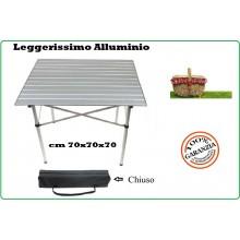 Tavolo Tavolino Richiudibile Campeggio Pic Nic Alluminio Leggerissimo 70x70x70 cm Art.31874