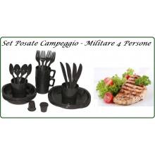 Set Posate e Bicchieri Piatti Campeggio Militare 4 Persone Art.33345