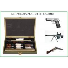 Kit Pulizia Professionale Fucile - Pistola Tutti i Calibri FOSCO Scatola Legno + 26 pezzi  Poligono Armeria Tiratore Art.469400