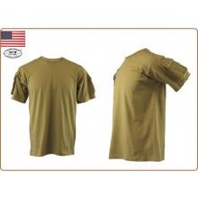 T-shirt Maglietta US  Manica Corta Coyote Tan  con Tasche Manica MFH Art.00121R