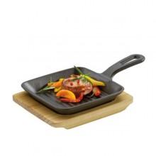 Padella Padellino BBQ Grill con Supporto in Legno Quadrato Kuchenprofi Art. 5113719
