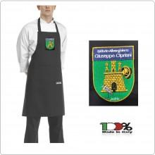 Grembiule Cucina Cuoco Chef con Pettorina e Tascone cm 90x70 Nero Black con Ricamo Istituto Alberghiero Giuseppe Cipriani Adria  Art.6103002N-ALB