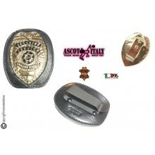 Placca Da Cintura in Cuoio con Clip in Metallo Placca Security Service Guardie Giurate Staccabile New Ascot Italia Art. 606AS23