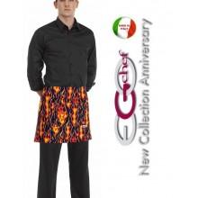 Grembiule Falda Banconiere Con Tascone Flames Fiamme Inferno Lucifero cm 40x70 Ego Chef Art.6100110A