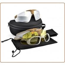 Occhiali da Tiro Tan Sabbia 3 Lenti Trasparente Gialla Fumè Royal Tiro Poligono Soft Air Caccia  Art.6055T