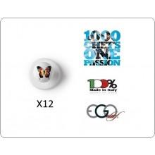 Bottone Bottoni Funghetto per Giacca Cuoco Chef Confezione 12 Pezzi Farfalla BUTTERFLY  Ego Chef Art.7400426L