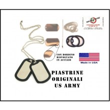 Piastrine Americane US Originali  Colore Accaio Con Silenziatore Dog Tags Kit Neutre Art.SBB