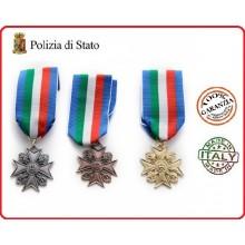 Medaglia Anzianità di Servizio Polizia di Stato Bronzo Oro Argento Art.FAV-32