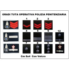 Gradi Velcro Tuta Operativa OP  Polizia Penitenziaria Logo + Grado Art.NSD-PP-OP