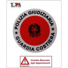 Adesivo Per Paletta Rosso POLIZIA GIUDIZIARIA GUARDIA COSTIERA VENDITA RISERVATA Art.GC-DIS-MTN