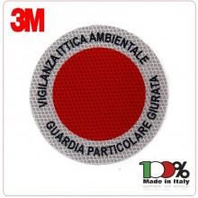 Adesivo di Ricambio 3M Per Paletta Rosso VIGILANZA AMBIENTALE GUARDIA PARTICOLARE GIURATA Art.AD-VAGPG