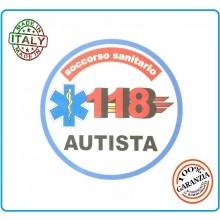 Adesivo Soccorso Soccorritore 118 AUTISTA cm 9,00  Prodotto Italiano Art.118-A1