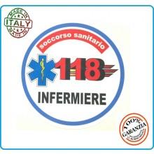 Adesivo Soccorso Soccorritore 118 INFERMIERE cm 9,00  Prodotto Italiano Art.118-A2
