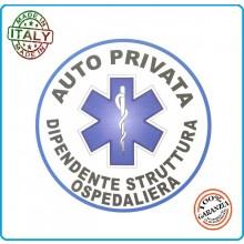 Adesivo Soccorso Soccorritore 118 AUTO PRIVATA DIPENDENTE STRUTTURA OSPEDALIERA  cm 9,00 Prodotto Italiano Art.118-A9