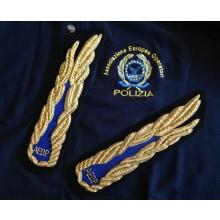 Alamari per Ufficiali A.E.O.P. Associazione Europea Operatori di Polizia Canottiglia cm 22 Ricamati a Mano Art.NSD-10