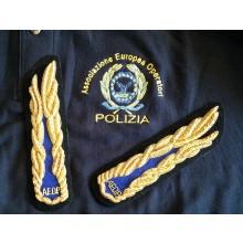 Alamari per Ufficiali A.E.O.P. Associazione Europea Operatori di Polizia Canottiglia cm 16 Ricamati a Mano  Art.NSD-09