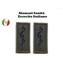 Coppia di Alamari Esercito Sanità Ricamati Nuovo Modello Art.EI-S