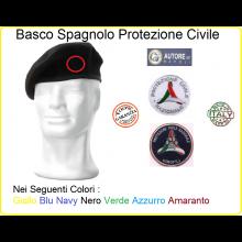 Basco Spagnolo con Fregio Ricamato Protezione Civile Nazionale o Cinofili Italiana FAV Italia Art.FAV-PC