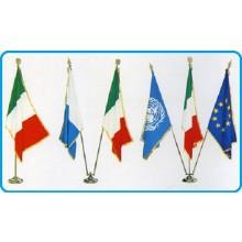 Base Piantana Per Bandiera Ufficio 3 Posto Ottone Cromato Oro  Art.0643