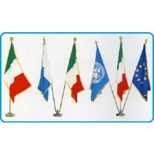 Base Piantana Per Bandiera Ufficio 3 Posto Ottone Cromato Art.0643