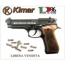 Pistola a Salve Scaccia Cani Beretta 92 Auto 8mm Nera Guancette in Legno Versione US IN GOD TRUST  Kimar Italia Art.420.073
