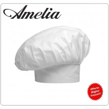 Berretto Cappello Copricapo Cuoco Chef Bianco con Possibilità di Ricamo Personalizzato Amelia Art.AMELIA-11