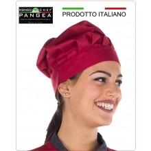 Cappello Cuoco Chef Professionale Pangea Rubino 100% Italia Art.JO0500