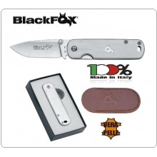 Black Fox Serramanico Coltello Tascabile con Manico in Acciaio Fodero Pelle Gentlemen BF 79 Art. BF-79