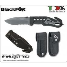 Coltello Rescue Intervento Black Fox Tactical knife Nero G10 Titanium Vigili Del Fuoco 118 Soccorso Sanitario Protezione Civile BF 115 Art. BF-115