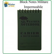 Blocchetto Block Notes Militare Notebook Waterproof  Art.419230