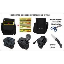 Borsa Borsetto Multiuso per Cinturone MHF Nero Porta Oggetti Intervento Soccorso Protezione Civile volontaria e Nazionale con Ricamo Personalizzato  Art.30745A-PC