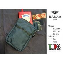 Borsetto in Cordura Tasca da Cinturone Radar 1957 Italia Nero Blu Polizia Carabinieri Guardie Giurate Art.1043-0401