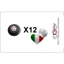 Bottone Bottoni Funghetto per Giacca Cuoco Chef Confezione 12 Pezzi Smile con Occhi Cuore Ego Chef Art.640418