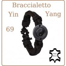Braccialetto Pelle Acciaio Yin Yang 69  Art.28152B