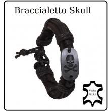 Braccialetto Pelle Acciaio Skull Teschio  Art.28152A