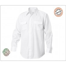 Camicia Bianca Manica Lunga Modello Militare Con Spalline FAV Italia  Art.CAM-B-ML